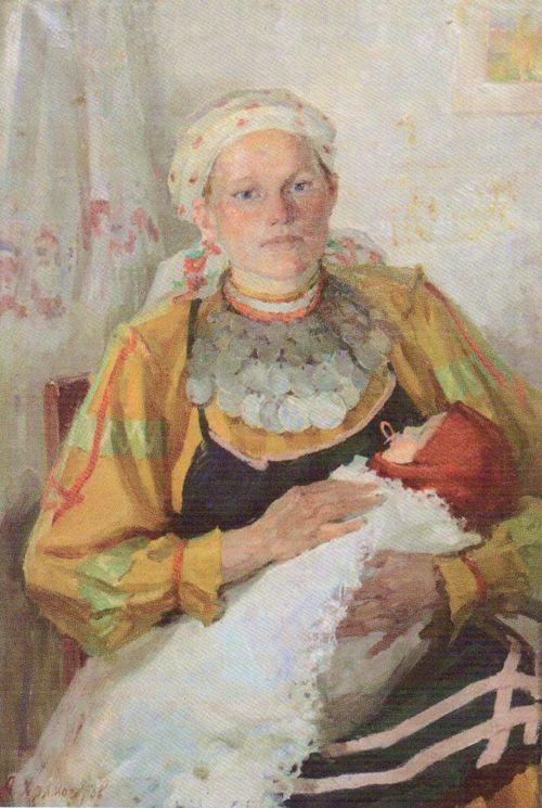 Молодая мать-удмуртка. 1960. Холмогоров А.П.