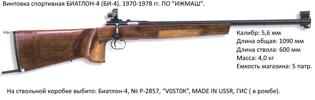Винтовка спортивная БИАТЛОН-4 (БИ-4). 1970-1978 гг. ПО ИЖМАШ.