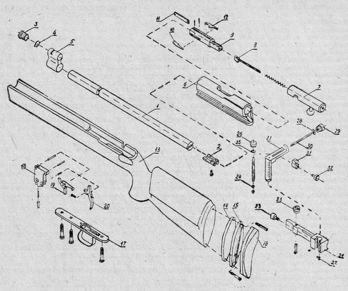 Детали и сборки спортивной винтовки СМ-2.