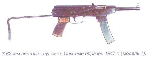 7,62 мм пистолет-пулемет Калашникова. Опытный образец 1947 г. (модель 1). Инв.№ 57\139.