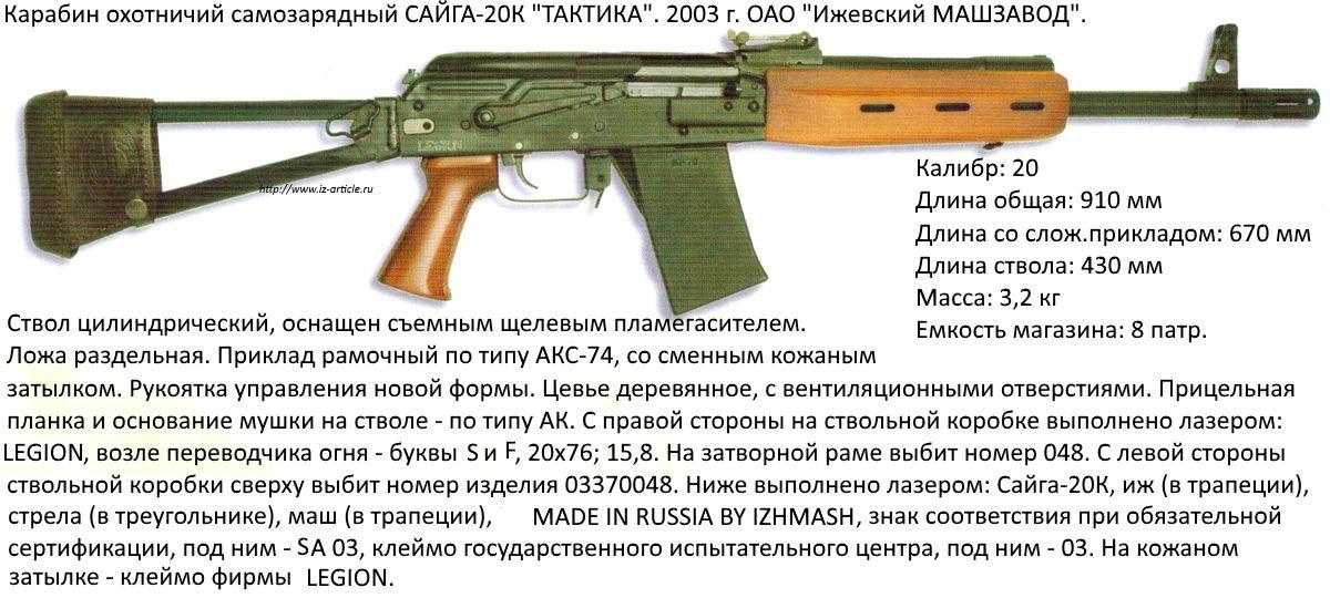 Карабин охотничий  самозарядный САЙГА-20К ТАКТИКА. 2003 г. ОАО Ижевский МАШЗАВОД.
