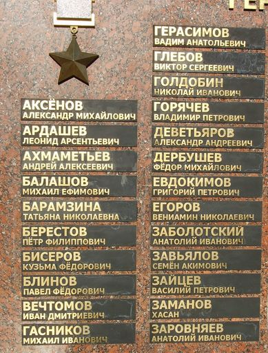 Список Героев Советского Союза у Монумента боевой и трудовой славы в Ижевске.