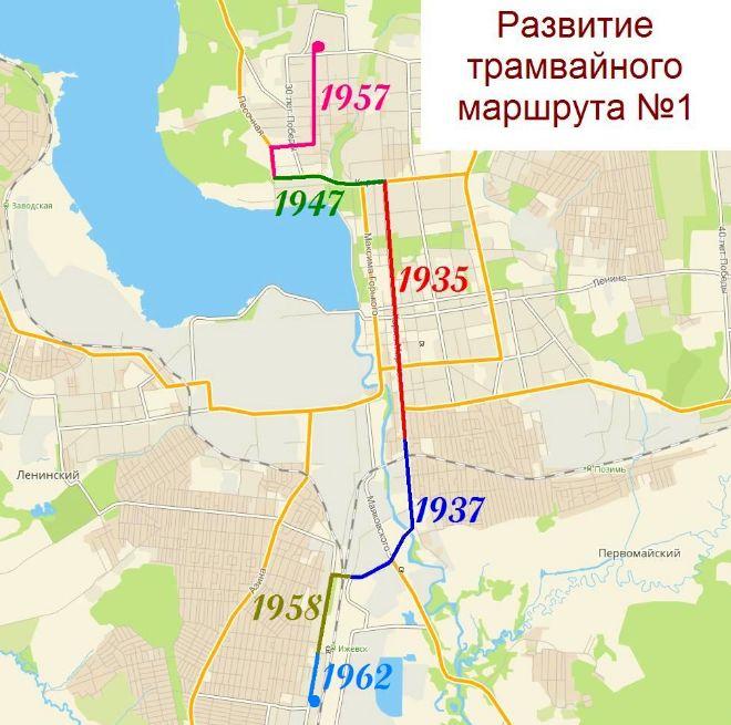 Развитие линий трамвайного маршрута №1. Ижевск.