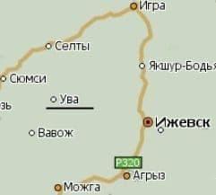 Поселок Ува Удмуртия. Карта.