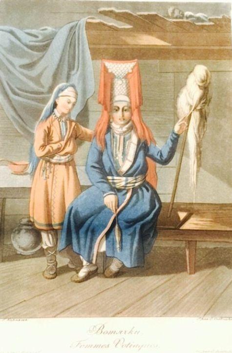 """Оригинальная гравюра 1812 года. Народы России """"Вотячки"""" Удмуртия."""