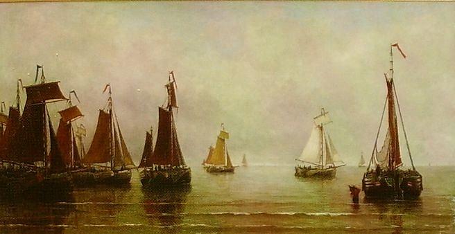 Местаг Хендринг Виллем. Голландия. Рыбачьи суда. 1873 год.