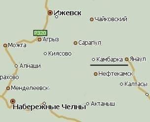 Камбарка и Ижевск на карте.