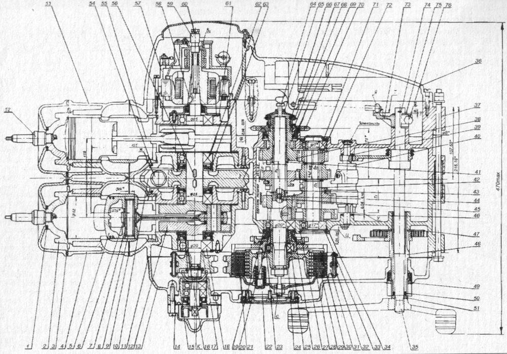 Конструкция двигателя Юпитер 5 с жидкостным охлаждением, с муфтой сцепления и коробкой передач (в разрезе).
