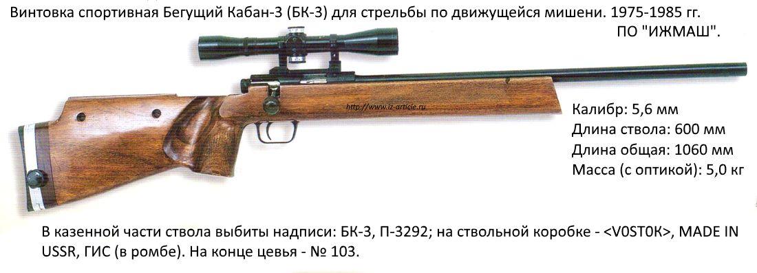 Винтовка спортивная Бегущий Кабан-3 (БК-3) для стрельбы по движущейся мишени. 1975-1985 гг. ПО ИЖМАШ.