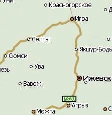 Село Селты Удмуртия. Карта.
