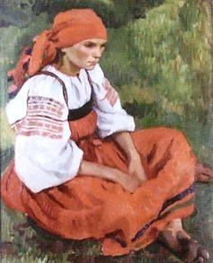 Серебрякова З.Е.  Крестьянка в красном сарафане. 1908 год.