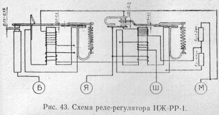 Схема реле-регулятора ИЖ-РР-1 мотоцикла ИЖ.