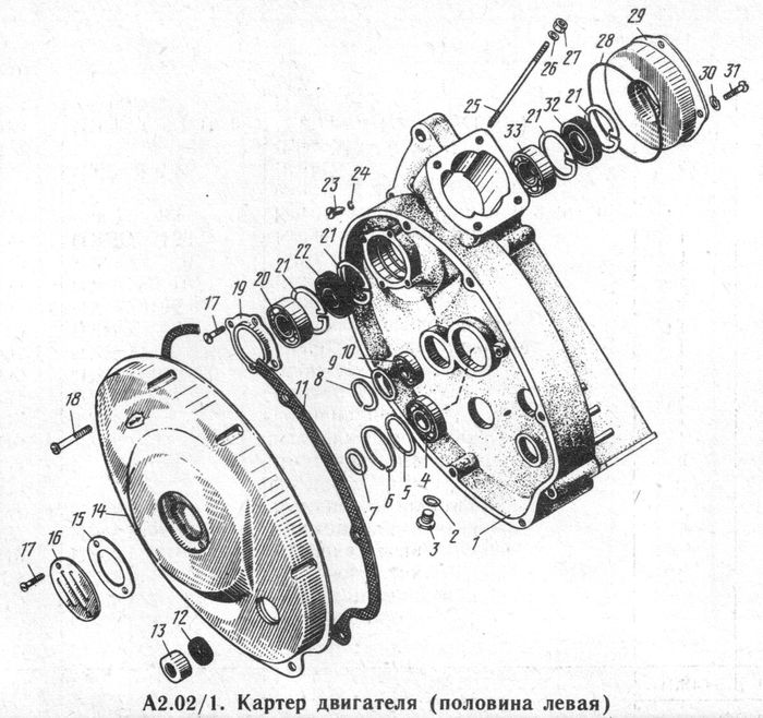 Детали картера двигателя (половина левая)  мотоциклов ИЖ-Юпитер -5-01, -5, -4, -3.