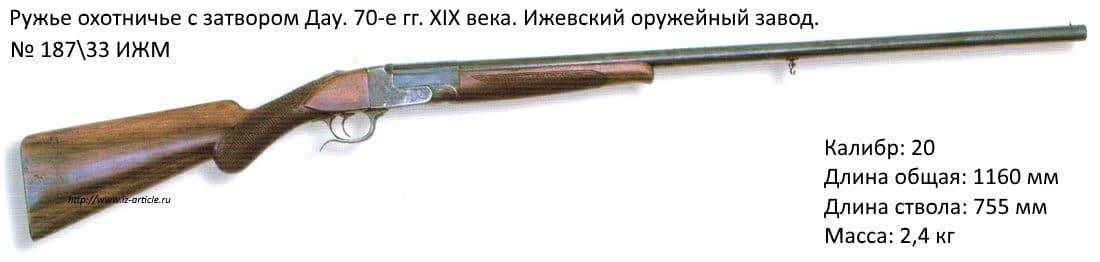 Ружье охотничье с затвором Дау. 70-е гг. XIX века. Ижевский оружейный завод.