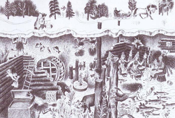 Подводное царство. Иллюстрация к удмуртским народным сказкам. 1979. Гарипов Менсадык Гарипович.