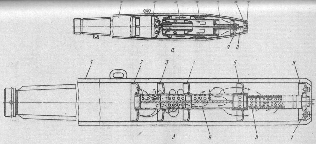Глушитель мотоцикла Иж-П3 (а), выпускался до 1979 года и  глушитель Иж-П3-01, Иж-Ю3-01.